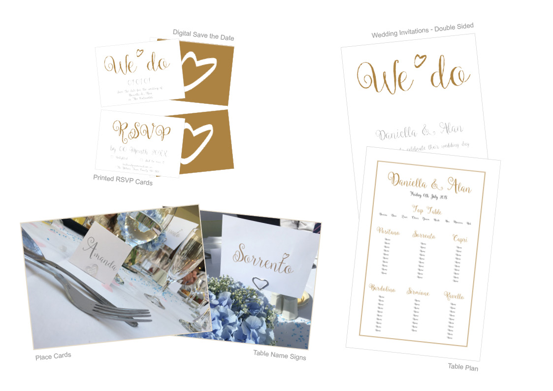Wedding Invitations, Save the Date, RSVP Cards, Memories Banner, Place Cards, Table Name signs, Table Plan