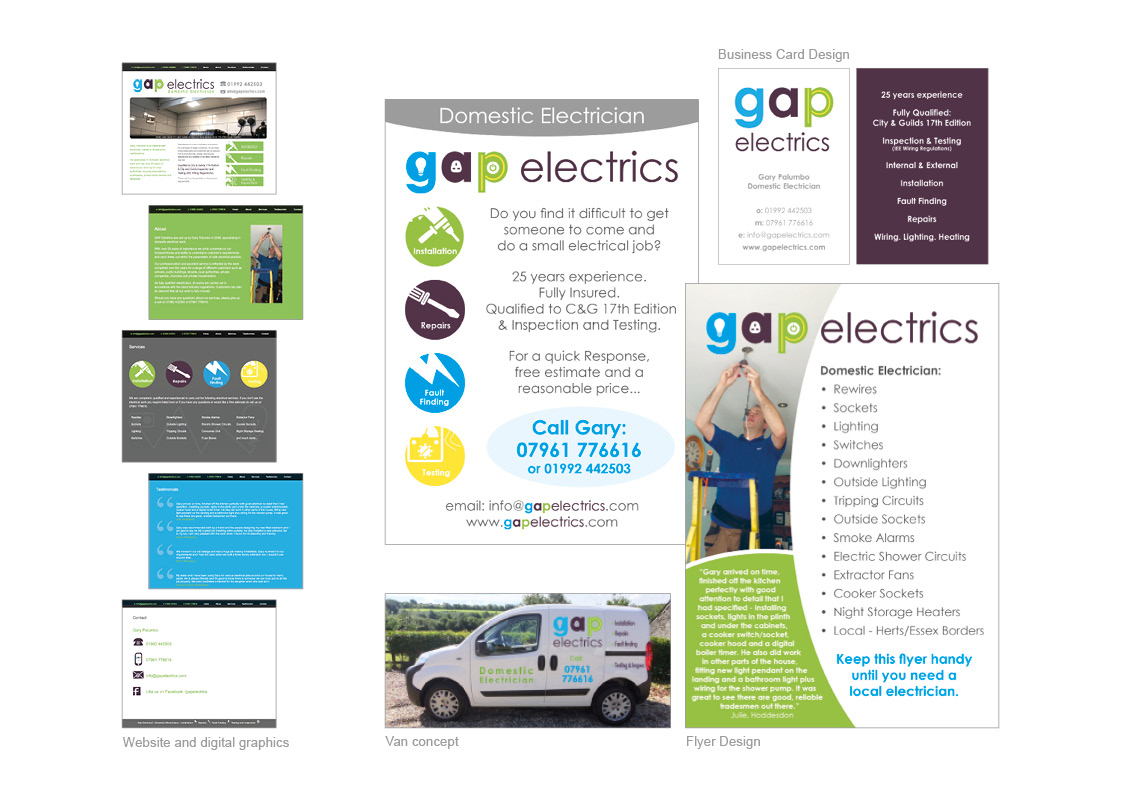Gap Electrics: Flyers, Business Cards and Website