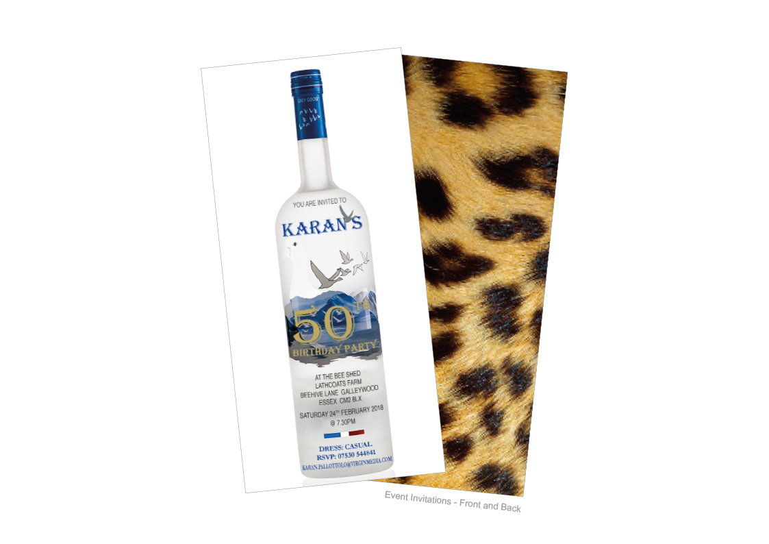 50th Birthday Invitations on Greygoose Vodka Bottle with leaopardskin back and 50 poster with photo montage