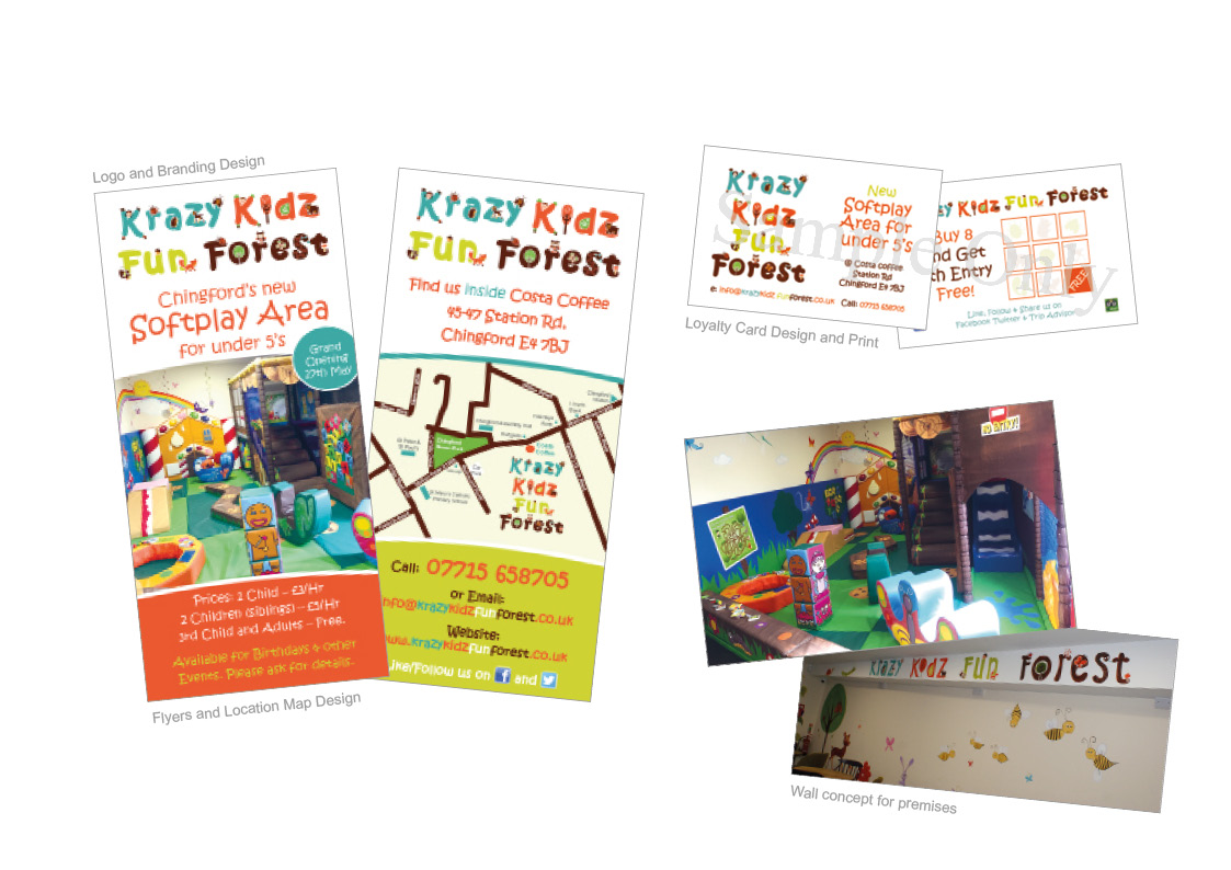 Krazy Kidz Fun Forest: Flyers and Map, Acitivity Sheets, Loyalty Cards, Interior Design concept