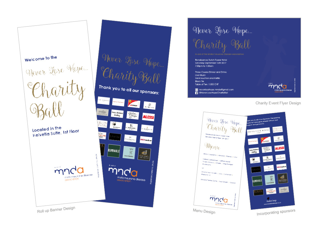 Flyer, Roll up Banners, Menu and Thank You cards for Charity Event