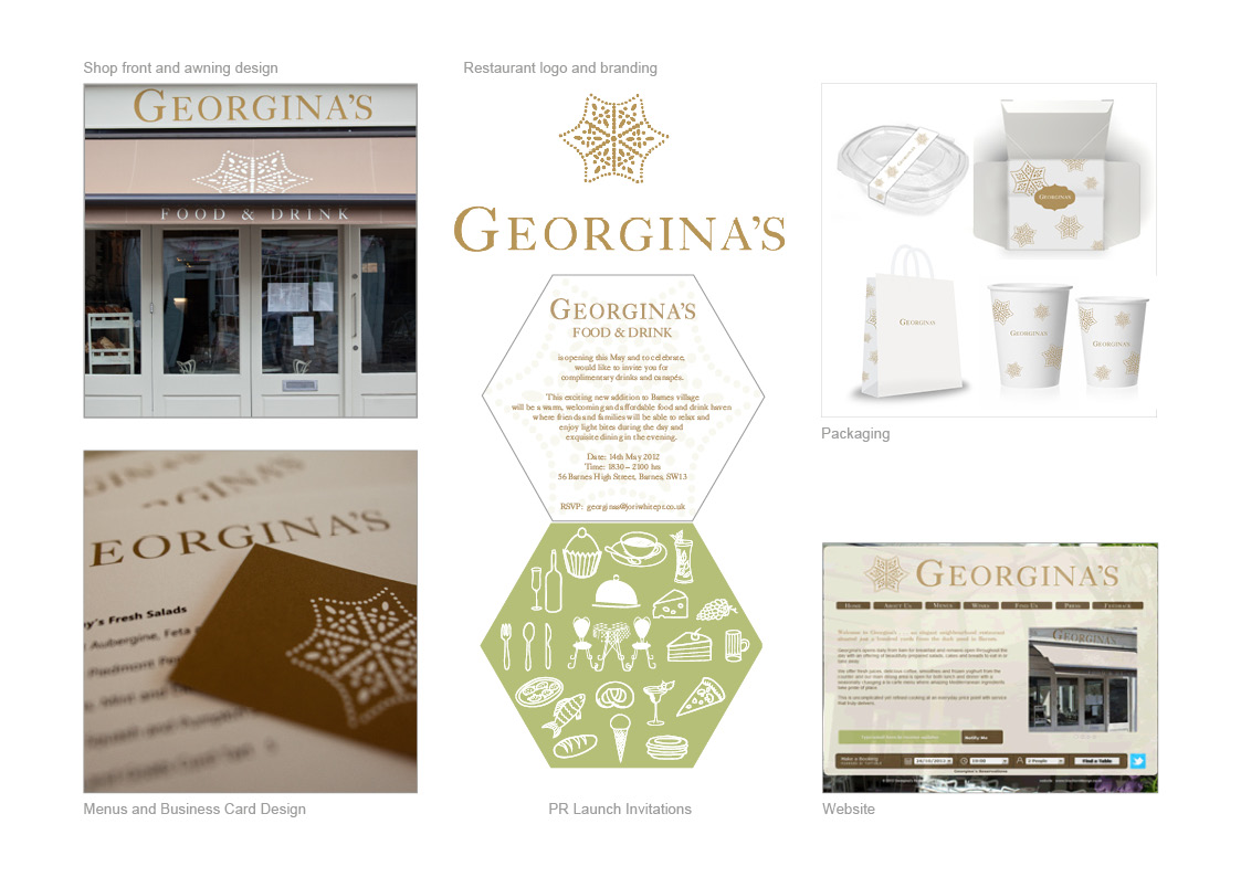 Georgina's Restaurant: Restaurant signage, Menus, Business Cards, Packaging, Vouchers, Advertising and Website