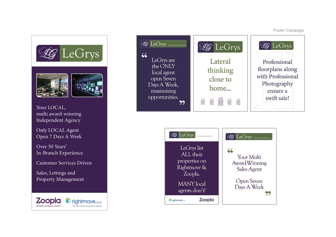 Legrys Independent Estate Agents: Shop signage, Advertising and Brochures